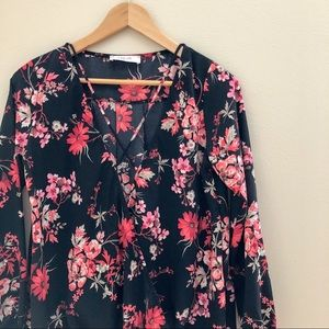 Tops - Red & Pink Floral Wrap Style Long-Sleeved Blouse